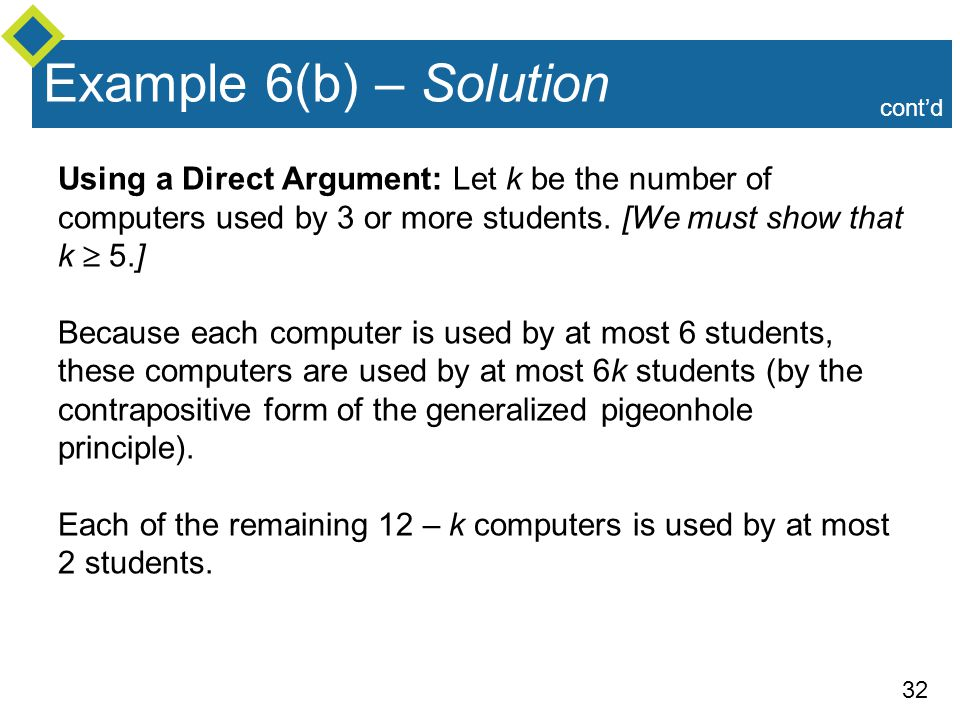 Example 6(b) – Solution cont'd. Using a Direct Argument: Let k be the number of computers used by 3 or more students. [We must show that k  5.]